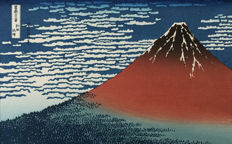 """Woodblock print by Katsushika Hokusai (1760-1849) (reprint) - 'Red Fuji - Clear Day with Southerly Breeze' from the series """"Thirty-six Views of Mount Fuji"""" - Japan - 2nd half 20th century"""