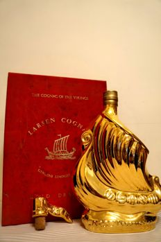 Messrs. Larsen S.A. Fine Champagne Cognac Limoges Golden Viking Ship with original box