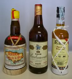 3 bottles - Black Joe Original Rum, Jamaica ('80s bottling) & Barbancourt Rhum 'Trois Étoiles', Haiti ('80s bottling) & Pellegrini Rhum 'Special Kingston' (0,5 l bottle) - three bottles in total