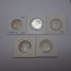 The Netherlands - 1 guilder 1892, 1897, 1907, 1913, 1914 Wilhelmina - 5 pieces - silver