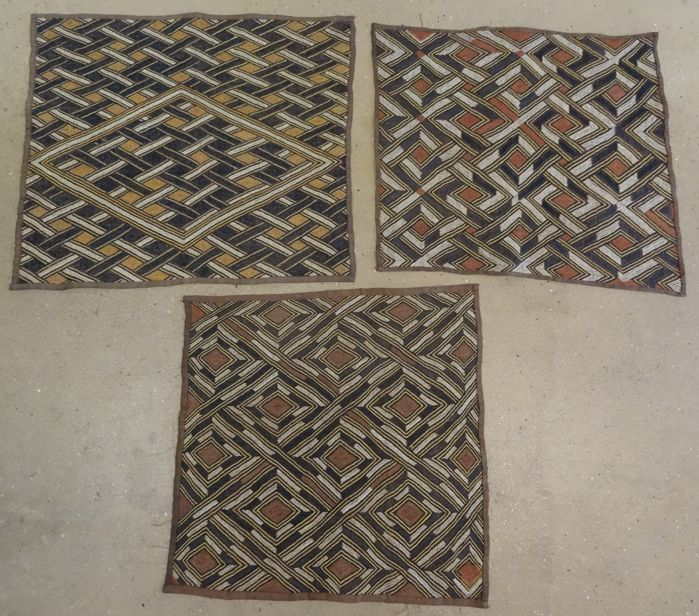 Lot 3 of antique raffia textiles -  SHOOWA, KUBA - D.R. Congo