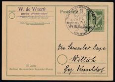"Berlin – 1951 – Philharmonica, special postal stationary 10+5 Pf (Type 2 with extra print ""50 years/Berlin Ganzsachen Sammler Verein, Michel P 23"