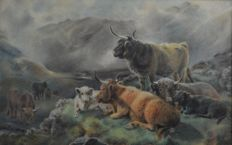 Scottish School (19th/20th century) - Highland cattle in a landscape setting