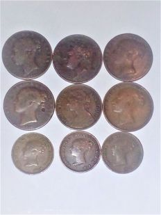United Kingdom - ½ Farthing 1842, 1843 and 1844 + Farthing 1826/1860 (total 9 pieces)