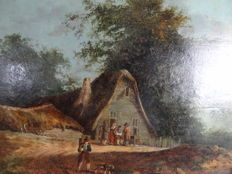 Dutch School (19th century) -  People in a wooded area