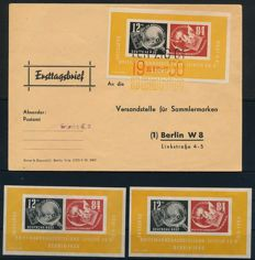 GDR - 1950 - 1960 - batch with 8 block issues including Debria block (3) on first day covers and Engels block, Michel block 6 and 13