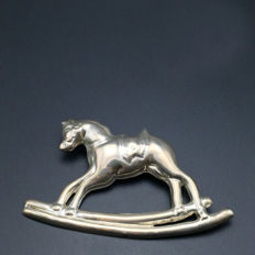 1980s Mexico Taxco Silver City toy rocking horse 925 sterling silver pin brooch