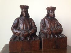 A pair of figural oak bookstands(?) - England - early 20th century