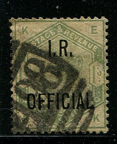 Great Britain, queen Victoria 1885 - 1 shilling dull green, Stanley Gibbons O7, IR Official