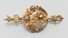 Brooch in 14 kt yellow gold from late 19th century - With 9 diamonds