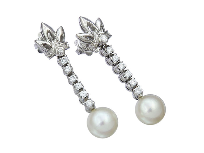 Art Deco earrings with pearls and diamonds - diamonds made of gold 750 / 18K white gold, antique c. 1930