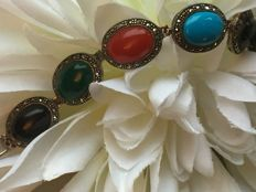 Vintage silver bracelet with turquoise / jade / onyx / precious coral and marcasite cabochon cut / 20.3 grams