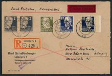 GDR of East Germany – 1952 – Personalities , 80 Pf. With varnish on express delivery letter, Michel 339 xb XI with photographic certificate Paul BPP