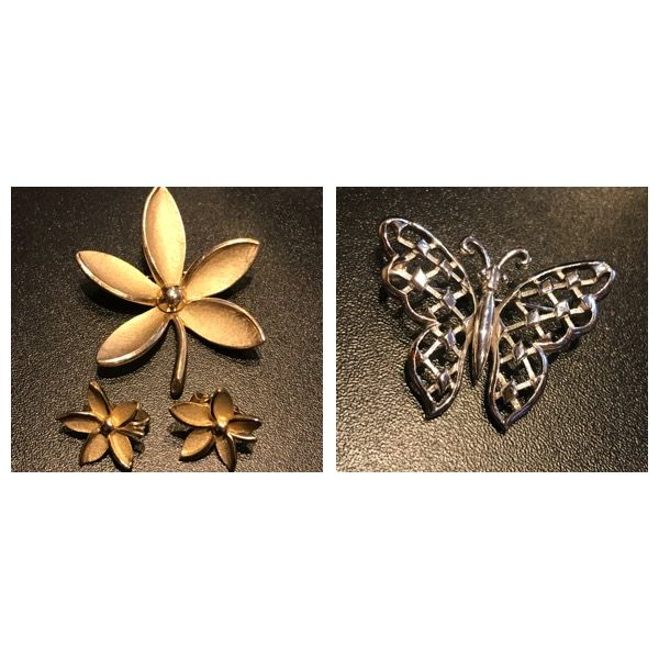 A rare Crown Trifari butterfly brooch and a Lovely rare brooch and earrings set by crown trifari