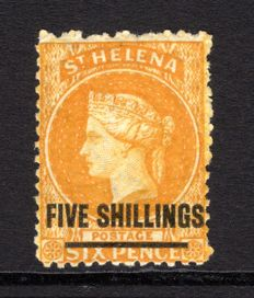 St.Helena 1868 - 5s yellow Stanley Gibbons.20a