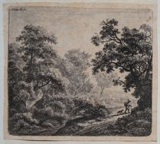 "Two prints by Anthonie Waterloo ( 1609-1690) ""Walker and his dog "" and ""The Halt"" Two Plates circa 1650"