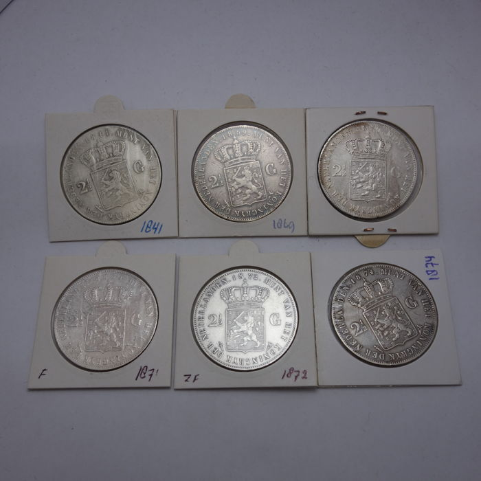 Netherlands - 2½ gulden 1869 through 1874 Willem III - silver + additional 2½ gulden Replica 1841 Willem II