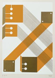 Michelangelo Conte - Two silk-screen prints, Geometrie
