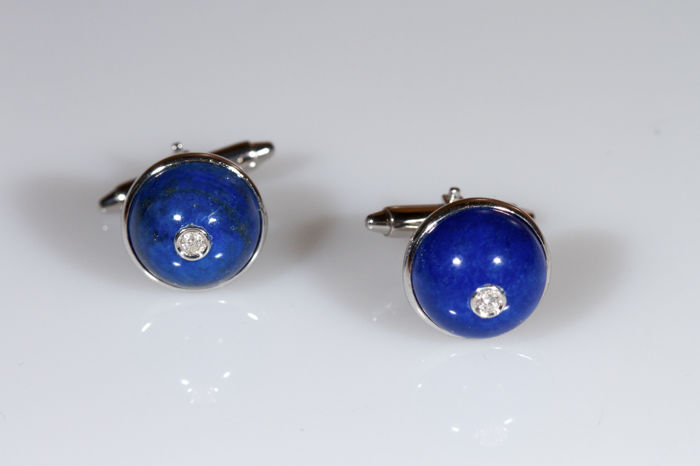White gold cufflinks with lapis lazuli and diamonds