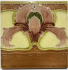 Mintons - Art Nouveau tile (Jugendstil) with stylized flower