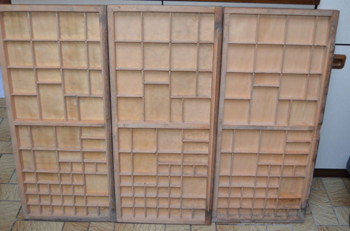 Three vintage wooden type cases from printing company, Belgium, 2nd half of 20th century