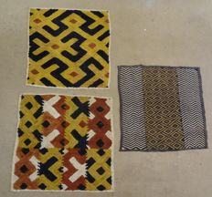 Lot of 3 Traditional Raffia Textiles - VELOURS DE KASAI, KUBA-D.R. Congo