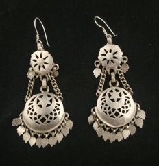 Silver earrings - India, second half of 20th century