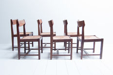 Manufacturer unknown - vintage mid–century modern wenge dining room chairs
