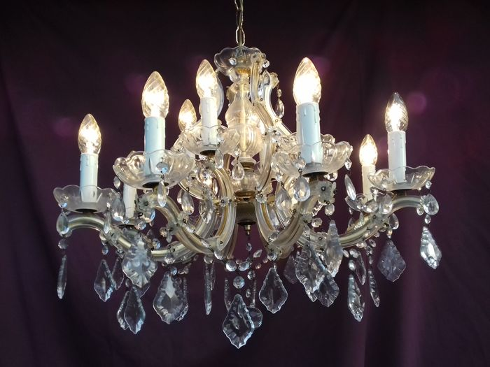 Vintage chandelier lustre chandelier lampadario with glass vintage chandelier lustre chandelier lampadario with glass crystals 2nd half 20th century aloadofball Choice Image