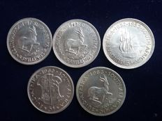 South Africa - 5 shillings 1947/1963 (5 pcs) - silver