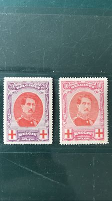 "Belgium 1915 - two ""scar"" variations on 10 and 20 c king Albert I in large medallion - OBP 133 and 134 V3"