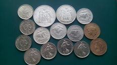 World – Lot of coins from around the world (15 specimens) – including silver coins