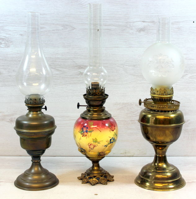 Three Antique Oil Lamps Complete With Wind Glass, The Netherlands, 1st Half  Of The