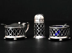 Sterling Silver Cruet Set, Salt, Pepper & Mustard - Henry Williamson - Birmingham - 1919