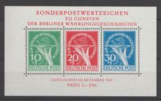Berlin 1949 - Victims of monetary depreciation - Michel block 1 III with plate flaw and inspection certificate