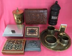 Lot of various tobacco and cigar and cigarette boxes and copper smoking set.