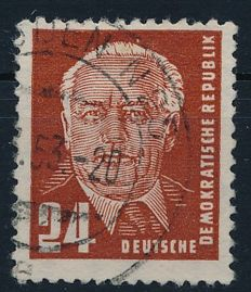GDR of East Germany – 1952 – definitives 24 Pf. Pieck with vertical watermark, Michel 324 z YI with photographic certificate Schönherr BPP