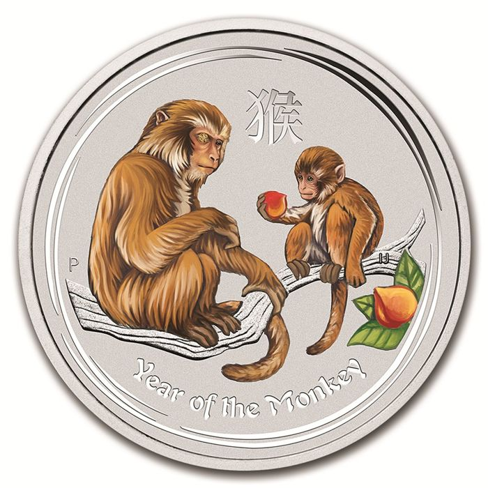 Australia - Dollar 2016 'Year of the Monkey' with colour - 1 oz silver