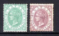 Natal 1867 - 1s green & 1s purple-brown - Stanley Gibbons 25