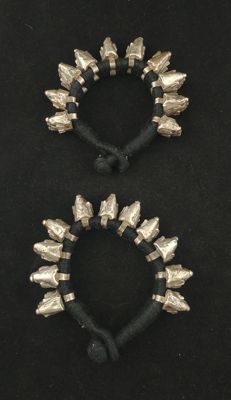 Pair of antique silver bracelets - Uttar Pradesh (India), mid 20th century