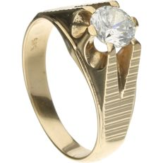 14 kt Yellow gold ring set with a zirconia - Inner size: 20 mm