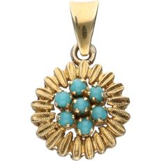 14 kt - Yellow gold pendant set with 7 cabochon cut turquoises - Diameter: 12.5 mm