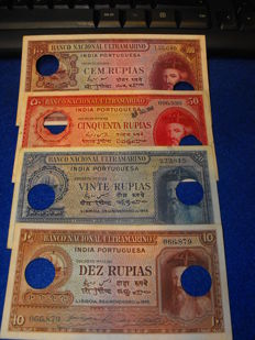 Portuguese India -10, 20, 50 and 100 Rupees 1945 -Mouzinho da Silveira - Pick 36, 37, 38 and 39 - cancelled