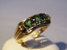 Antique 14 kt signed gold ring with genuine, green tourmalines totalling 1.50 ct