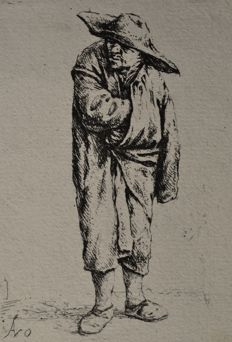 Adriaen van Ostade (1610-1685) - Peasant With His Hand In His Cloak - Later impression, date unknown