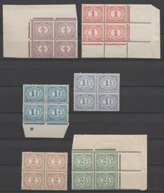 The Netherlands 1899/1913 - Number type 'Vürtheim' - NVPH 50/55 in blocks of four