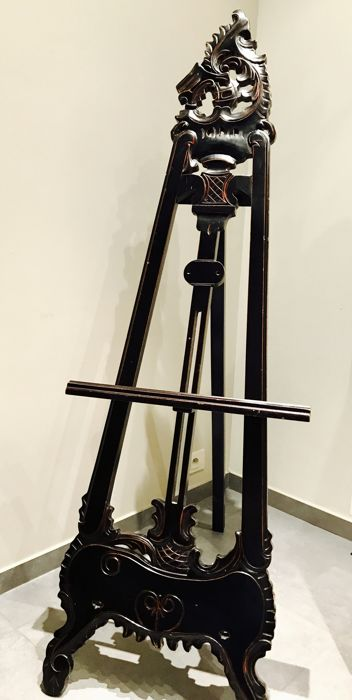 Large (160 cm) wooden easel with crest, mid 20th century
