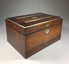 Rosewood letter box with nickel inlays - England - ca 1900