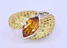 5.43 Ct Marquise Citrine, Sapphires ring NO reserve price!