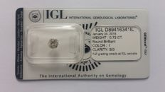 0.72ct Round Diamond I si3 IGL lab -NO  reserve price